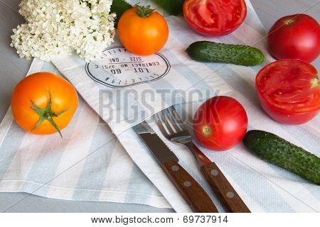 Vegetables On A Kitchen Napkin