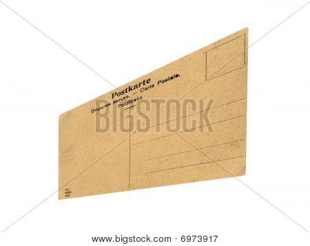 Closeup Vintage Grunge Postcard Isolated, White Background