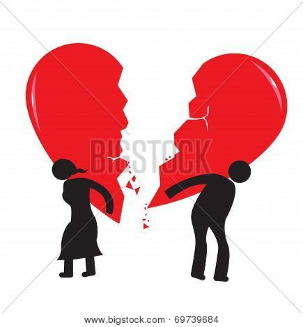 Divorce Heartache Concept. Broken Heart carried by stick man and woman.