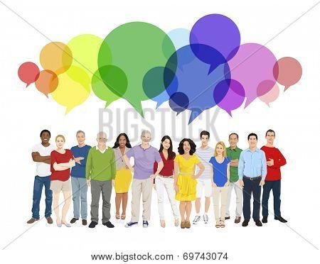 Illustration of Multiethnic People and Speech Bubble