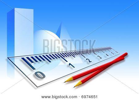 Ruler & Pencils On Blue Background