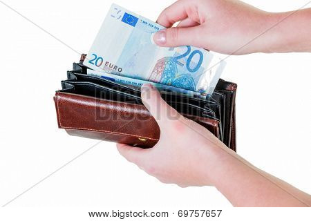 in a wallet, there are some euro banknotes. running short of money by the new poverty.
