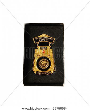 Hayward, CA - August 7, 2014: NRA Distinguished Expert Medal awarded for qualification in shooting skills