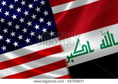 Merged Flag Of Iraq And Usa