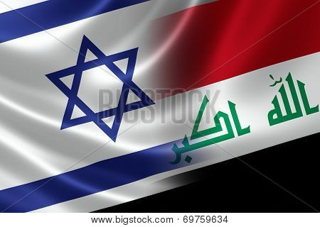 Merged Israeli and Iraqi flag on satin texture. Concept of the long history and proximity between the two hostile countries. poster