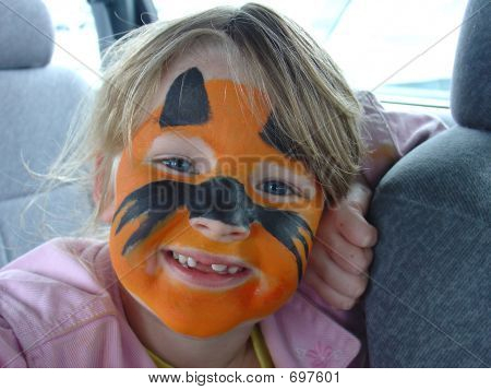 Girl With Painted Cat Face