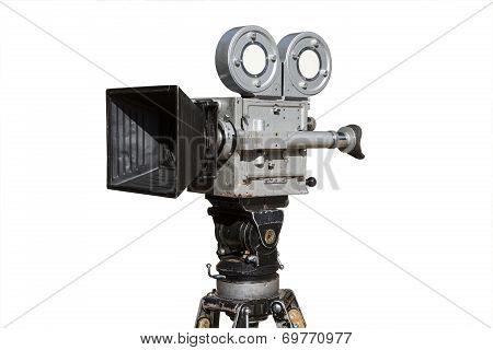 old analog professional movie camera. movie shooting. the creation of films and documentaries poster