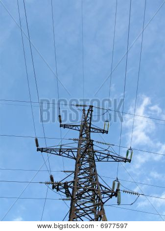 Electrical Powerlines (electricity Pylons), Blue Sky, Wire Cables