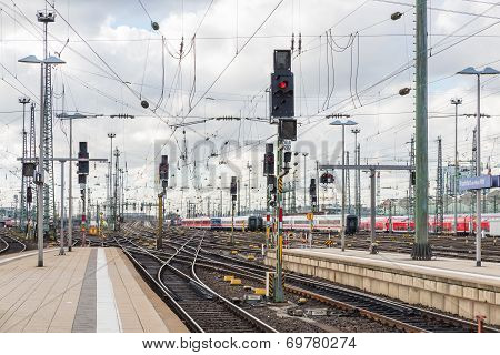 The Railway Of Train With Traffic Light Of Frankfurt Main Station