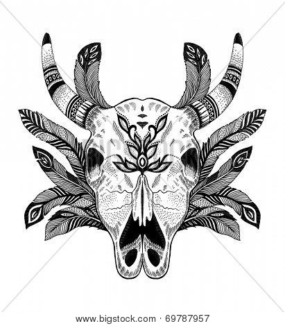 psychedelic ethnic cow scull with feathers poster
