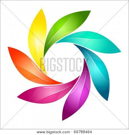 Abstract colorful floral sign