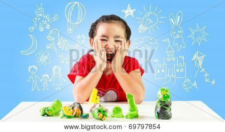 Happy little girl create idea