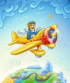 Vector illustration of cartoon plane with smiling pilot flying over the earth poster
