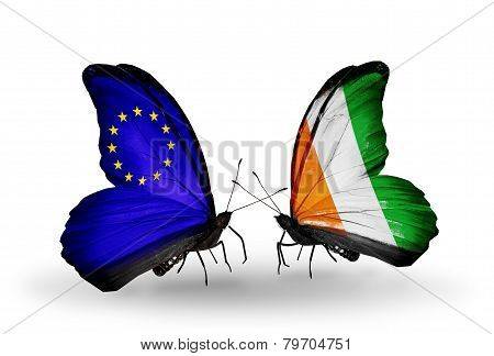 Two Butterflies With Flags On Wings As Symbol Of Relations Eu And Cote Divoire
