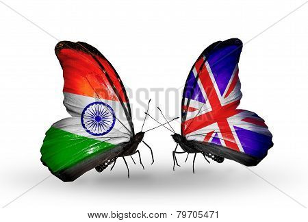Two Butterflies With Flags On Wings As Symbol Of Relations  India And  Uk