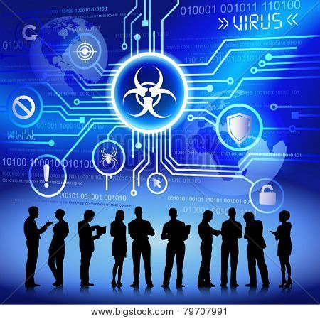 Technology and virus themed background with silhouettes of business people vector