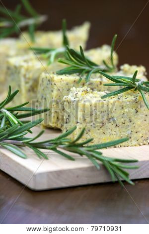 Baked Polenta With Italian Cheese And Rosemary