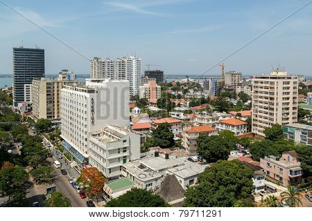 Aerial View Of Downtown Maputo