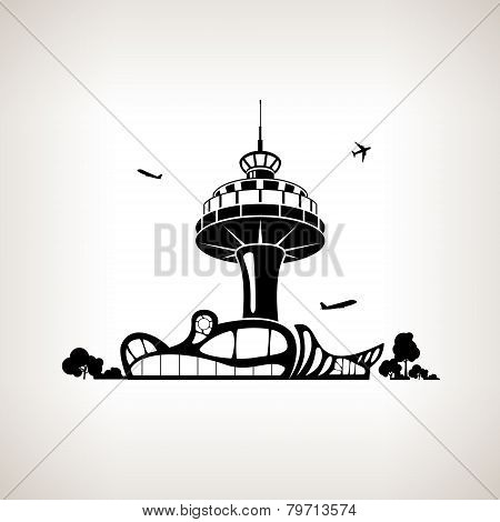 Silhouette control tower at the airport, vector illustration
