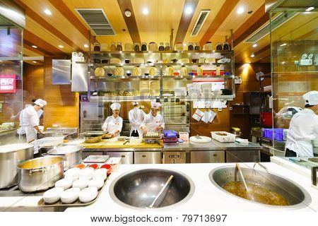 SHENZHEN - OCT 28: restaurant interior on October 28, 2014 in Shenzhen, China. ShenZhen is regarded as one of the most successful Special Economic Zones.
