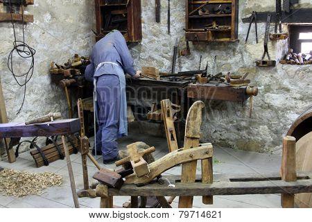 KUMROVEC, CROATIA - SEPTEMBER 24: Carpenter's workshop in Ethnological Folk Museum Staro Selo in Kumrovec, Northern County of Zagorje Croatia on September 24, 2013.