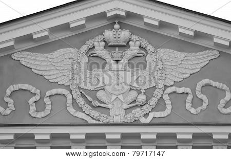 The arms of the Russian empire on facade of Monetniy Dvor in St.Petersburg Russia. Black and white. poster