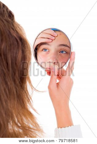Girl Looking At Her Pimples In The Mirror