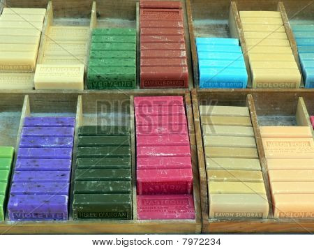 Colourful bars of soap
