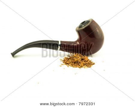 brown tube for smoking and heap of the tobacco near it poster