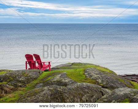 Two Chairs Overlooking Ocean Shore