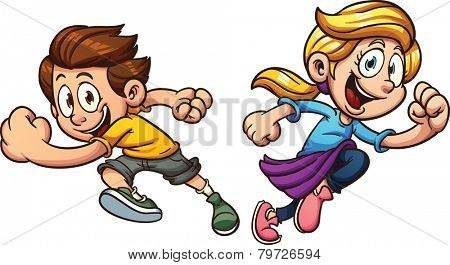 Kids happily running. Vector clip art illustration with simple gradients. Each on a separate layer.