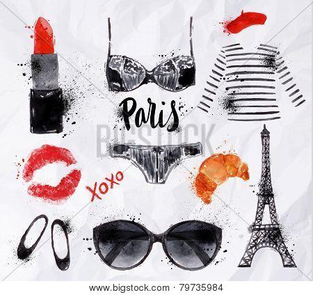 Set Paris watercolor