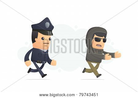Police Trying To Catch A Criminal