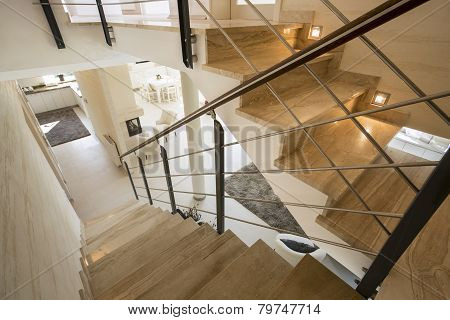 Marble Staircase In Expensive House