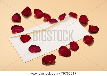 Open Blank Envelope With Red Leaves In Heart Shape