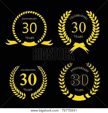 thirty years anniversary laurel gold wreath  set poster
