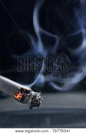 Smoking kills concept, smoke skull and cigarette poster