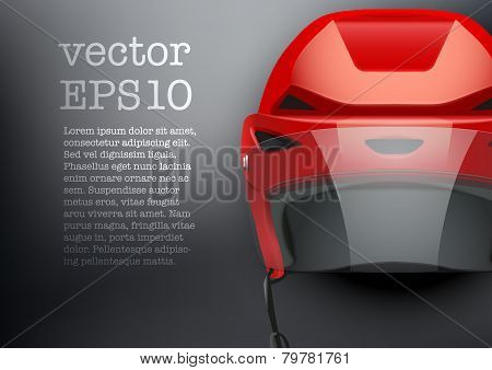 Background of Classic red Ice Hockey Helmet with glass visor