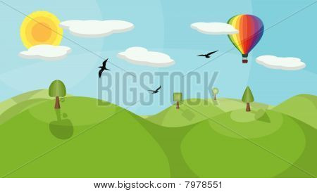 Landscape with Hot Air Balloon