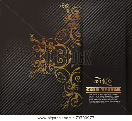 Gold background with floral ornaments