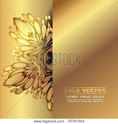 Gold background with floral ornaments, vector