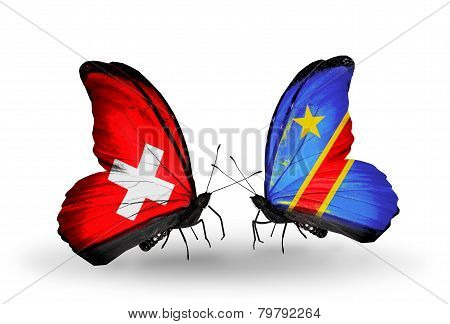 Two Butterflies With Flags On Wings As Symbol Of Relations Switzerland And Kongo