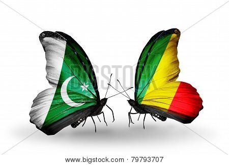 Two Butterflies With Flags On Wings As Symbol Of Relations Pakistan And Kongo