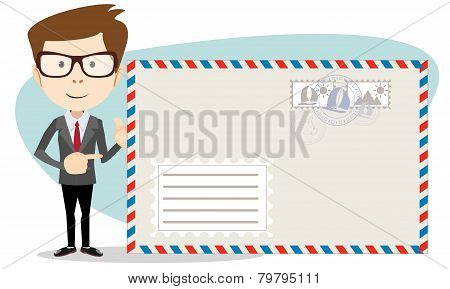 Office worker stands near a large mailer envelope and friendly smiling