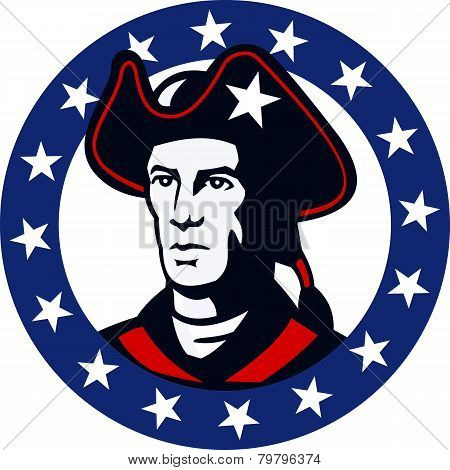 Illustration of an american patriot minuteman militia revolutionary soldier set inside circle with stars around done in retro style. poster