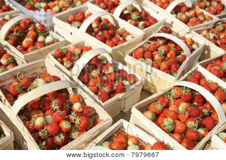 Strawberries In Baskets