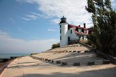 Point Betsie Lighthouse and Breakwater, Lake Michigan poster