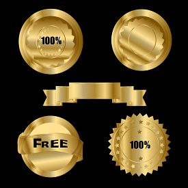 Gold Sale Stickers Over A Black Background