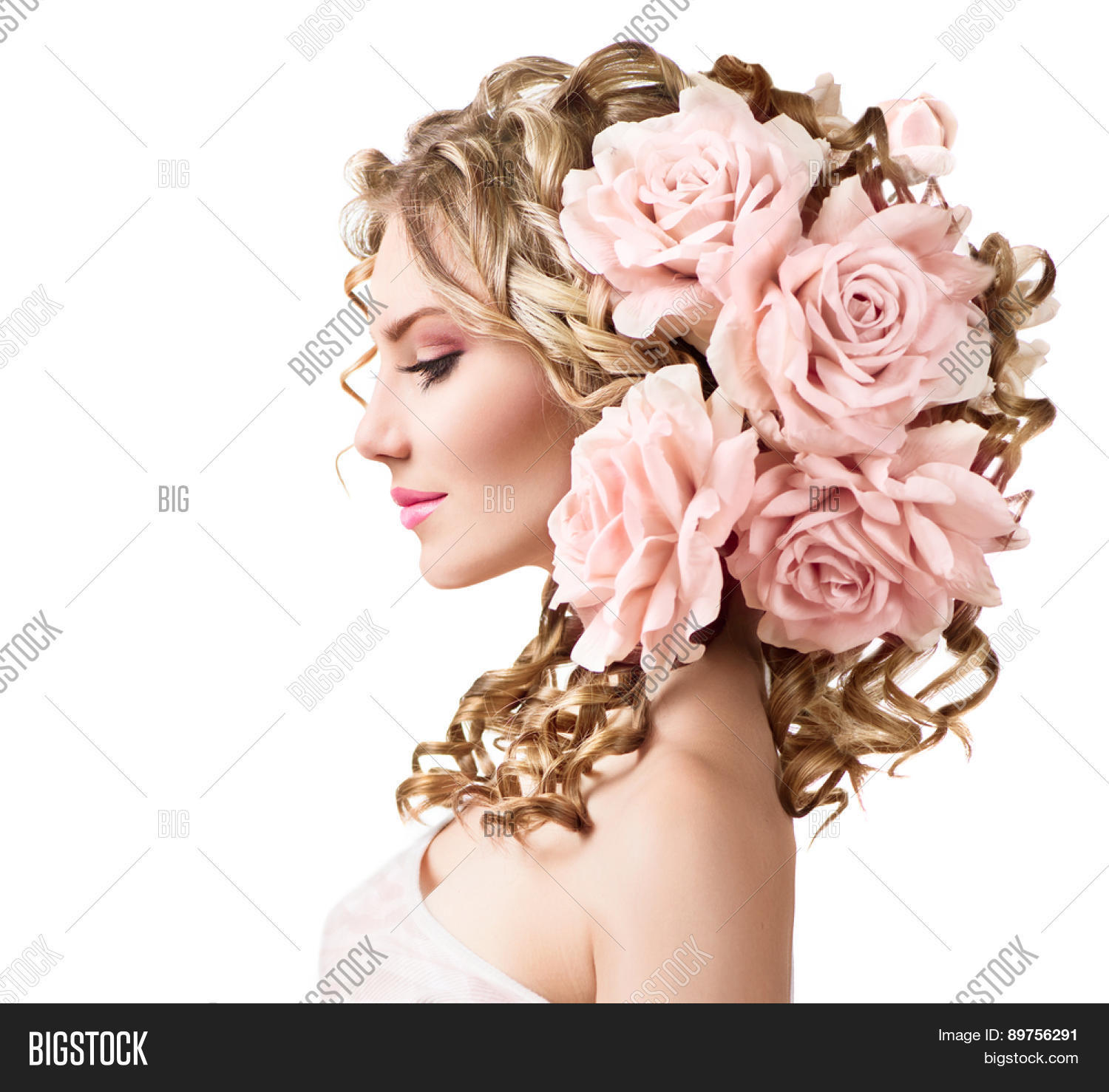 Beauty girl rose image photo free trial bigstock beauty girl with rose flowers hairstyle isolated on white background fantasy girl portrait with pink izmirmasajfo