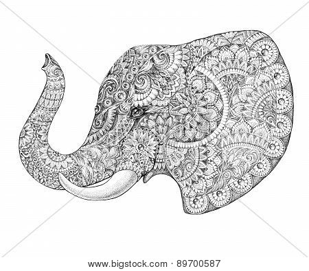 Tattoo Profile Elephant With Patterns And Ornaments